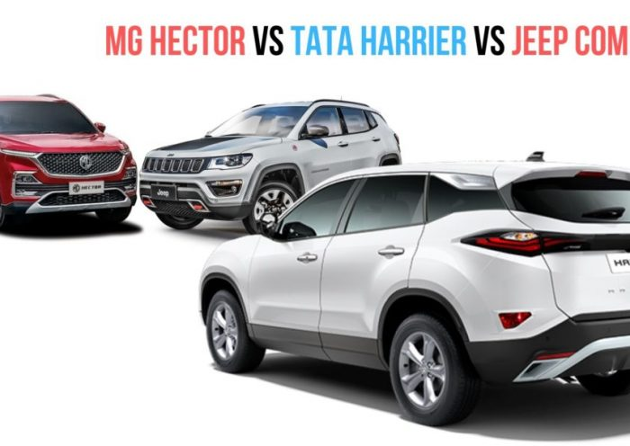 MG Hector vs Tata Harrier vs Jeep Compass – Price, Specs, Features Comparison