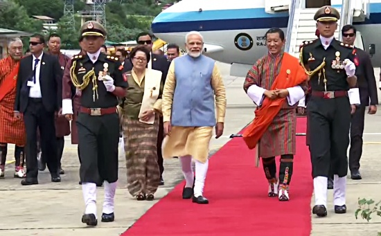Modi reaches Bhutan on two-day state visit